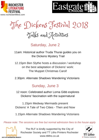 draft flyer for Dickens 2018